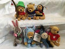 7 New Disney Store Winne the Pooh Plush Bean Bag Toys Beanie Babies Lot