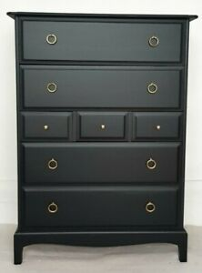 Stag Minstrel painted black mahogany tallboy, vintage chest of drawers, upcycled