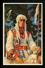 Native Americana postcard Sitting Eagle Sioux Indian Art by Christoffersen
