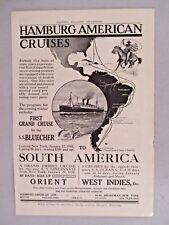 Hamburg-American Cruise Ship Line PRINT AD - 1909 ~~ S.S. Bluecher
