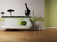 Giraffe safari animals tree Quote Wall Stickers Art Room Removable Decals DIY
