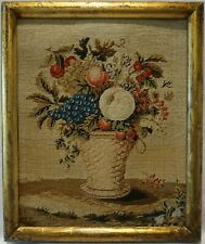 Small Mid 19Th Century Needlepoint Study Of A Basket Of Fruit - c.1860