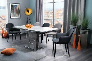 """ILARIO"" Concrete Effect & White Glass Top Extending Dining Table 140cm - 180cm"