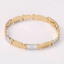 Gold Plated Two-Tone Men's Women's Link Bracelet Chain Jewelry