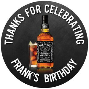 PERSONALISED GLOSS JACK DANIELS  50TH, 60TH, BIRTHDAY PARTY STICKERS ANY AGE