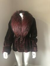 Gorgeous Women's Sheared Mink Fur Coat Jacket with Fox Trimmed Neiman Marcus