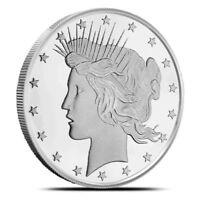 BU 1oz. round Peace Dollar Design .999+ Fine Silver Highland Mint