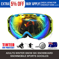 New Ski Goggles Double Lens Adult Snowboard Skiing Glasses Sports Green Frame