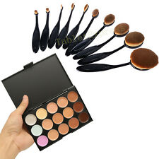 15 Colors Contour Face Cream Makeup Concealer Palette + 10Pcs Toothbrush Brush