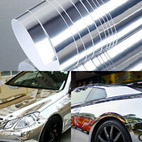 Autocollants de film décalque vinyle chromé étirable brillant argent de voitur·