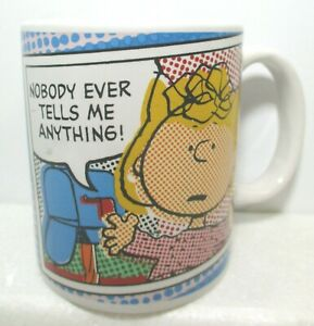 Peanuts Sally Coffee Cup Mug Nobody Ever Tells Me Anything Gibson
