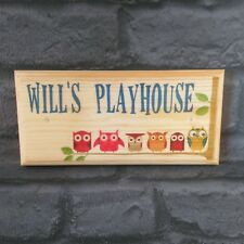 Personalised Playhouse  Plaque / Sign /Gift - BLUE Owls Treehouse Kids Room Boys