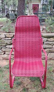 Vintage Lloyd Loom Flanders Wicker Outdoor Patio / Chair Burgandy Red