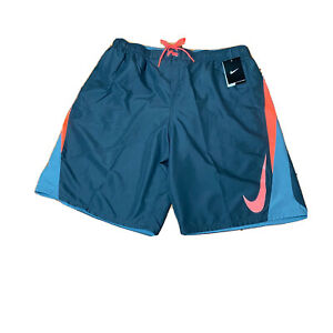 NWT Nike Shorts Men's XL Polyester Swim Trunks Lined W/ Pockets Gray & Coral 🔥