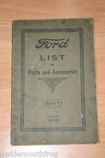 Ford List Of Parts And Accessories Model T July 1922 Original Booklet