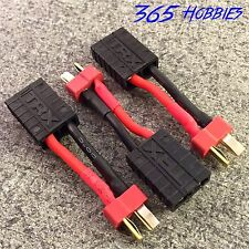 QTY-(3) Male Deans to Female TRX Traxxas Connector Adapter Charger Slash E Revo
