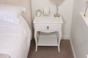 White Bedside Table / Painted Nightstand / Classic Lamp Table / French Style
