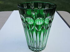 Old Quality Large Green Cut To Clear Glass Vase