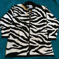 Diane von Furstenberg Color Authority Zebra Stripe Cardigan Sweater Large L DVF