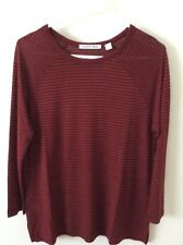 BN COUNTRY ROAD LADIES T- SHIRT - 3/4 SLV PINSTRIPE TEE - BURGUNDY/RED - SIZE S