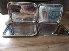 Lot Of 4 Vintage Silver Tin Metal Lap TV Trays
