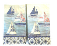 Sailboats Guest Hand Towels Paper Napkins 20 pk Set of 2 Summer Beach House Boat