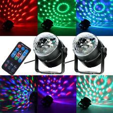 2Pcs LED RGB Disco DJ Magic Ball Crystal Xmas Party Stage Light Remote Control