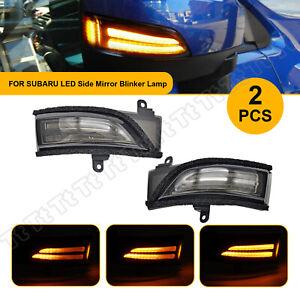 For Subaru WRX Impreza Dynamic Amber/White LED Side Mirror Signal Lights Smoked
