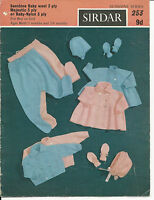 ORIGINAL VINTAGE 1960s SIRDAR SUNSHINE KNITTING PATTERN BABY PRAM SET