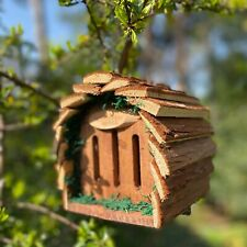 More details for wooden hanging butterfly house hotel with natural bark roof