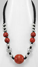 "16"" FABULOUS Red Coral on Cotton Waxed Thread Beaded Necklace"
