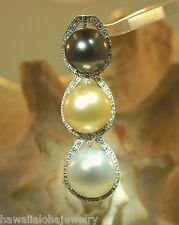 14k White Gold Graduated 3Tone Cultured South Sea Pearls 0.36Cts Diamond Pendant