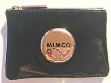Mimco Small Pouch Black Leather Purse Clutch Wallet Rose Gold Button