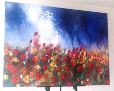 """Original Large Abstract Tulips Field Landscape 40"""" Acrylic Canvas Painting New"""