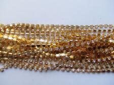 50cm di CATENA con strass SS16  colore oro 4mm