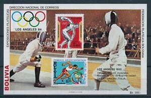 [105973] Bolivia 1983 Olympic Games Los Angeles 1984 fencing Souvenir Sheet MNH