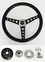 "Barracuda Cuda Fury Belvedere Black on Black 14 1/2"" Steering Wheel & Horn kit"