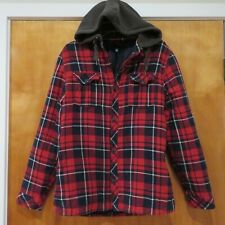 H&M Divided Mens Lumberjack Quilted Red Navy Wht Plaid Hooded Shirt Jacket Sz S