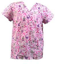 Womens Fashion Medical Nursing Scrub Tops Breast Cancer Owl Butterfly Ribbon S