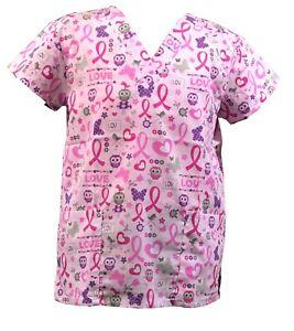 Womens Fashion Medical Nursing Scrub Tops Breast Cancer Owl Butterfly Ribbon XL