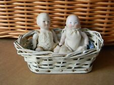 2 Sweet Antique All Bisque Baby Dolls Germany in a basket
