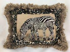 Zebra African Petit Point Needlepoint Velvet Animal Print Fringe Velveteen Back