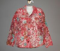 Womens CHICO'S RED SEMI SHEER TOP SHIRT BLOUSE SIZE 1 MEDIUM TEAL FLORAL