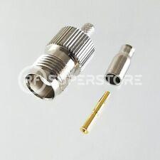 TNC Female Connector Crimp Attachment Coax RG174, RG188, RG316, Nickel Plating
