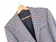 JY3033 DAKS VINTAGE BLAZER ORIGINAL PREMIUM PURE WOOL CHECKED BLUE size 50/40