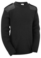 Black Men's Crew Neck Military Army Security Police Sweater Pullover Jumper Top