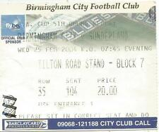 CALCIO Matrice del biglietto-BIRMINGHAM CITY V Sunderland-FA Cup - 25/2/2004