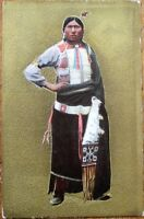 Native American 1909 Heavily-Emossed Postcard - Man Against Gold Background