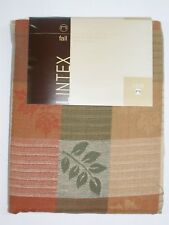 "Lintex 100% Cotton Tablecloth ~ Striped Leaves ~ 70"" Round **NEW**"