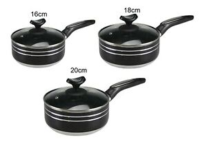 Premium Marble Coating Induction bottom Saucepan with Glass Lids Heavy Duty